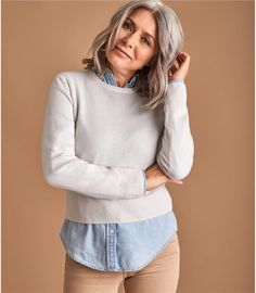 Women's jumpers have always been one of our specialties. Shop securely on WoolOvers AU. Cropped Sweater, Sweater Cardigan, Cream Jumper, Cream Style, Cotton Jumper, Jumpers For Women, British Style, Different Fabrics, Looks Great