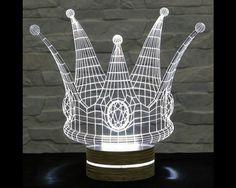 Crown Shape, 3D LED Lamp, Acrylic Lamp, Art of Light, Home Decor, Artistic Lamp, Night Light, Table Light, Office Decor, Nursery Light by ArtisticLamps