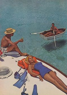 Lounging in the sun beside pristinely gorgeous tropical waters, 1950s