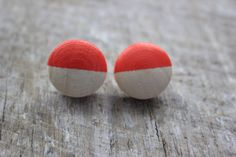 Natural Wood Hand Dip Dyed Poppy Coral by TheBirdsWordBoutique