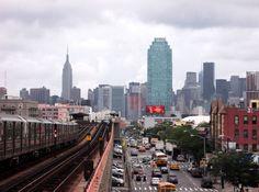 Looking down the 7 Line on Queens Boulevard toward Midtown Manhattan