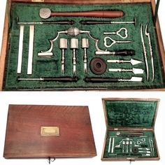 Exceptional neurosurgical set by Bogner This is among the finest neurosurgical set I've ever come across. Made by the finest French surgical cutler of the 18th Century and early 19th century, it embodies metalworking skills on a par with those of the armorers of Tula, in Russia. For sale on www.fleaglass.com