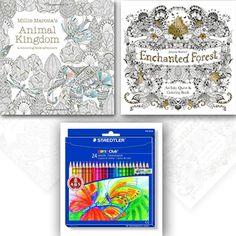 Millie Marotta's Animal Kingdom and Enchanted Forest 2 coloring children's Books Set. #ColoringBooks #BookCollection #Books #BookForSale #childrensbooks #kidsbooks