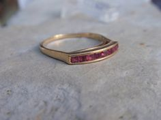 Pink Spinel Ladies Wedding Band 10k by LuceesTreasureChest on Etsy