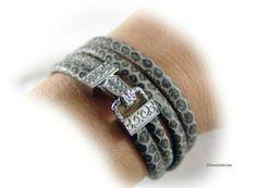 Leder Armband Wickelarmband taupe braun silber von elfenstuebchen