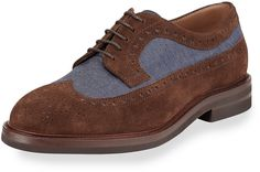 Brunello Cucinelli Denim & Suede Wing-Tip Derby Shoe, Brown/Blue