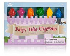 6 verschillende kleuren krijtjes in mooie sprookjesfiguren