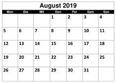 August Kalender Montas 2019 Mit Feiertagen August Kalender, Holiday
