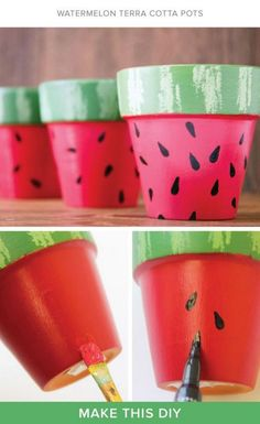 coole DIY Blumentöpfe - # Check more at cool DIY flower pots - # check Kids Crafts, Cute Crafts, Craft Projects, Kids Diy, Flower Pot Crafts, Clay Pot Crafts, Shell Crafts, Painted Flower Pots, Painted Pots
