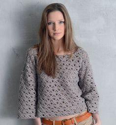 Gratis patroon op maandag - Haakpatroon trui. Ontvang ieder maandag het gratis patroon en een leuke aanbieding van het garen. Crochet Gratis, Crochet Clothes, Pulls, Diy Fashion, Free Pattern, Turtle Neck, Pullover, Knitting, Sweaters
