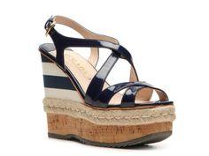Prada Patent Leather Wedge Sandal