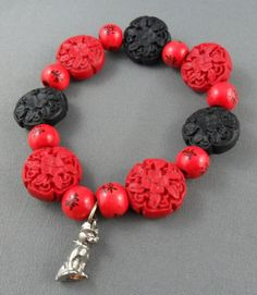Lucky Purr red and black resin wood beads by RainbowCatParty, $9.99
