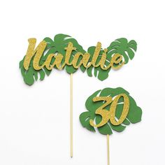 Tropical Leaf Themed Cake Topper Pack | Custom Name & Age. Tropical leaf themed Party Decorations pack is a popular trending summer theme. If your little one likes to be a soldier in the woods they will just love this Birthday Tropical theme. Also works well with your Hawaiian Party theme. #InspiredByAlma