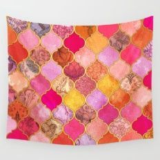 Hot Pink, Gold, Tangerine & Taupe Decorative Moroccan Tile Pattern Wall Tapestry