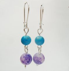 Purple and Teal Round Bead Earrings Purple by TheRaspberryBasket