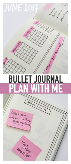 BULLET JOURNAL PLAN WITH ME June 2017! Bullet journal ideas for the spring season...monthly trackers, weekly spreads, and more!