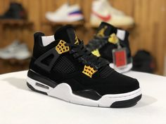 "quality design b9931 bab3b 2019 Air Jordan 4s Retro ""Royalty"" Black Gold Mens Basketball Shoes Gold  Accents,"
