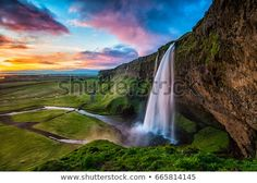 Seljalandsfoss is a waterfall in Iceland. The waterfall drops 60 m and is part of the Seljalands River that has its origin in the volcano glacier Eyjafjallajökull. Visitors can walk behind the falls into a small cave. Iceland Facts, Guide To Iceland, Best Honeymoon Destinations, Vacation Places, Iceland Waterfalls, World Travel Guide, Iceland Travel, Reykjavik Iceland, Stock Foto