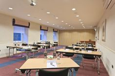 A classroom meeting setup in our Mezzanine at Skene House Conference Suites. Classroom Meeting, Mezzanine, Conference, Sleeping Loft