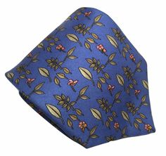 Brooks Brothers Silk Necktie Tie Leaves Flowers Blue 59.5 by 3.75 Classic #BrooksBrothers #NeckTie