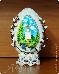 Поделка изделие Пасха Бисероплетение Пасхальное яйцо Бисер Бусины фото 1