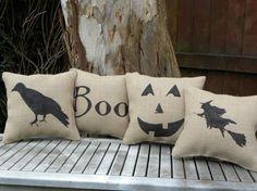 halloween burlap pillows cute!