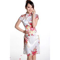 2014 White Satin Floral Print Cheongsam
