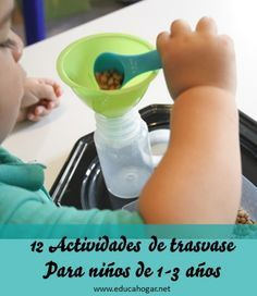 12 Actividades Montessori de trasvase en seco Toddler Learning Activities, Montessori Activities, Infant Activities, Montessori Toddler, Maria Montessori, Toddler Preschool, Practical Life, Gross Motor Skills, Playrooms