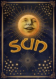 Happiness and contentment ☀️🌝the the sun's meaning Sun Moon Stars, Sun And Stars, Good Day Sunshine, Solis, Vintage Moon, Sun Art, Sacred Geometry, Pompeii, Vintage Posters