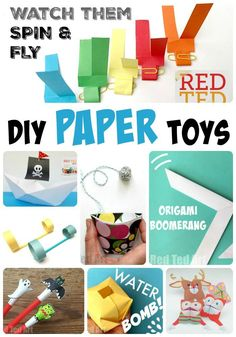 Red Ted Art's DIY Paper Toys - here over 12 fantastic paper toys the kids can make and play with. We love how versatile and fun paper can be!! Paper Crafts For Kids, Easy Crafts For Kids, Projects For Kids, Diy For Kids, Fun Crafts, Easter Crafts, Fair Projects, Summer Crafts, Summer Fun