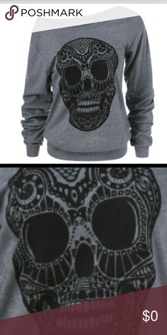 Grey lightweight skull hoodie Lightweight, off the shoulder black and grey skull hoodie! Nice fabric and awesome design. Runs a size small! Tops Sweatshirts & Hoodies