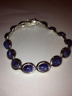 Lapis Sterling Bracelet Denim Blue Lazuli Stones by BargainBitz