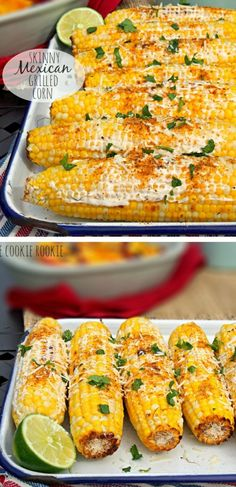 Grilled Corn - Mexican Corn on the Cob Skinny Mexican Grilled Corn is the perfect Summer side dish for BBQs! So easy and flavorful!Skinny Mexican Grilled Corn is the perfect Summer side dish for BBQs! So easy and flavorful! I Love Food, Good Food, Yummy Food, Veggie Dishes, Vegetable Recipes, Taco Side Dishes, Easter Side Dishes, Potluck Dishes, Comida Tex Mex
