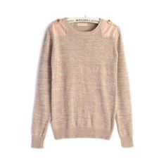 Mixed color long sleeve cotton pullover ($55) ❤ liked on Polyvore