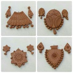 Nice collection Terracotta Jewellery Online, Terracotta Jewellery Designs, Polymer Clay Necklace, Polymer Clay Pendant, Beaded Necklace Patterns, Jewelry Patterns, Ceramic Jewelry, Wooden Jewelry, Teracotta Jewellery