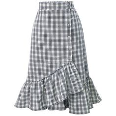 Flounce Decorative Button Plaid Mermaid Midi Skirt (93 BRL) ❤ liked on Polyvore featuring skirts, frilled skirt, flouncy skirt, summer skirts, calf length skirts and plaid midi skirt