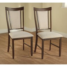 Overstock.com - Calista Espresso/ Beige Dining Chairs (Set of 2) - $195.99