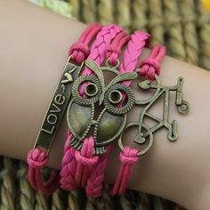 Bronze Alloy Plate Owl And Bicycle Pink Rope Handmade Woman's Retro Bracelet -USD $15.95