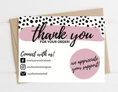 Cute Thank You Cards, Thank You Card Design, Thank You Postcards, Small Business Cards, Business Thank You Cards, Business Card Design, Creative Business, Business Ideas, Printable Thank You Cards