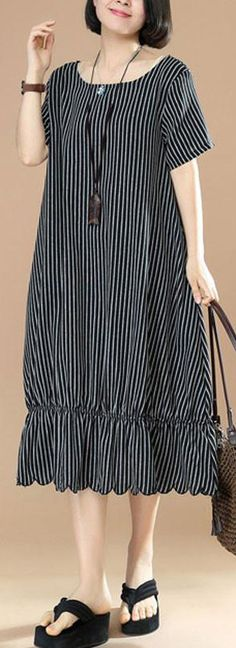 top quality cotton blended maxi dress plus size Black And White Stripes Round Neck Short Sleeve Pocket Loose Women Dress top-quality-cotton-blended-Black-And-White-Stripes-Round-Neck-Short-Sleeve-Pocket-Loose-Women-Dress Dress Plus Size, Plus Size Maxi Dresses, Trendy Dresses, Simple Dresses, Casual Dresses, Fashion Dresses, Woman Dresses, Clothing Patterns, Dress Patterns