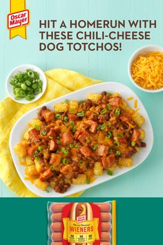food_drink - Feel like you're enjoying a day at the baseball park any time of the year with these outofthisworld good ChiliCheese Dog Totchos! Drench your golden crispy tots in chili, creamy melted cheese, then top it all off with Oscar Mayer's no artific Hot Dog Recipes, Crockpot Recipes, Cooking Recipes, Healthy Recipes, Italian Recipes, Mexican Food Recipes, Dinner Recipes, Chili Cheese Dogs, Soup Appetizers