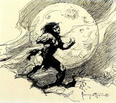 Frank Frazetta, The works of the late master fantasy artist, with News, Galleries, and Biography. Frank Frazetta, Barbarian Warrior, Sci Fi Kunst, 70s Sci Fi Art, Sword And Sorcery, Black And White Illustration, Fantastic Art, Awesome Art, People Art