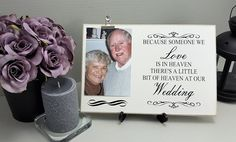 Remember Those that could not be with you on your special day with this memorial wedding plaque. Memory sign has space to add your own picture (4 x 6 portrait photograph) for display at your memory table. Caption reads: Because someone we love is in heaven theres a little bit of heaven at our wedding Optionally personalization. The space beneath the Picture area can be personalized with the name of your loved one Your sign will come with silver photo clip and black plastic stand as…