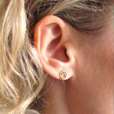 Dog Paw Stud Earrings / Gold Post Studs / Tiny by NadinArtDesign