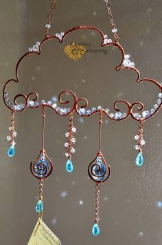 Super sparkly Raincloud Suncatcher, Swarovski Crystal wire art, window home decor, patio garden decoration rainbow maker blue aqua – Gift Ideas Bead Crafts, Jewelry Crafts, Arts And Crafts, Diy Crafts, Crystals And Gemstones, Stones And Crystals, Swarovski Crystals, Wire Wrapped Jewelry, Wire Jewelry
