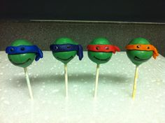 Andrew really wants some of these Teenage Mutant Ninja Turtle Cake Pops - Lillylicious Cake Pops
