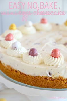This Easy No Bake Mini Eggs Cheesecake is the perfect Easter dessert that's easy to make and fun to eat, featuring everybody's favourite Easter candy! Plus tips for a perfectly set no-bake cheesecake every time! Recipe from thebusybaker.ca! #easterdessert #springdessert #springcheesecake #minieggs #minieggsrecipe