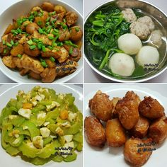 Oyster sauce chicken with potato and mushroom  (蚝油鸡炒土豆和蘑菇)  Chinese spinach soup with fishball and meatball (鱼圆和肉圆菠菜汤) Salted egg bitter gourd (咸蛋苦瓜) Fried prawn roll (虾枣) .  . .   . #sgfood #sg #dinnertime #dinner #homecooked #homemade #mushrooms #spinach #fishball #meatballs #soup #oystersauce  #saltedegg #bittergourd #prawnroll #potato #chicken #egg  #vegetables  #veggies #family #loveones #happy #familymeal