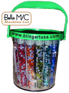 Get your bucket of Bella Machine Cut Rhinestones-have them ready and on hand all the time.  24 colors, 400 pieces each color, ss10 stones www.blingartusa.com #blingartusa #rhinestones #rhinestonesupplier #rhinestonesupplies #bellamachinecutrhinestones #bling