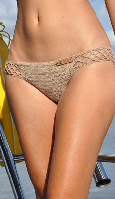 Elastic Crochet Bikini Bottom in Beige Lined by SeaSideMotifs